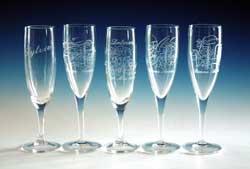 Lot de 6 Flûtes à champagne gravé au motif note de musique : Vaisselle,